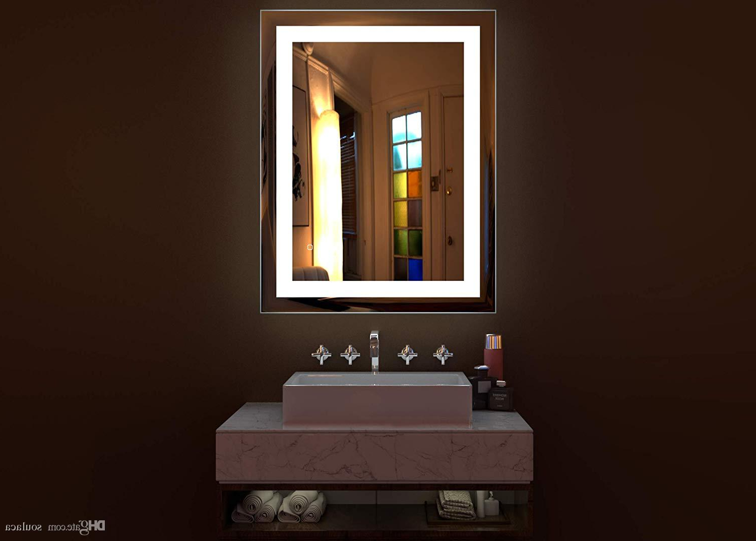 Lighted Bathroom Wall Mirrors Throughout 2020 Soulaca 3 Led Lighted Bathroom Wall Mounted Mirror With White Light High  Lumen Anti Fog Touch Button Ip44 Waterproof Vertical & Horizontal (Gallery 12 of 20)