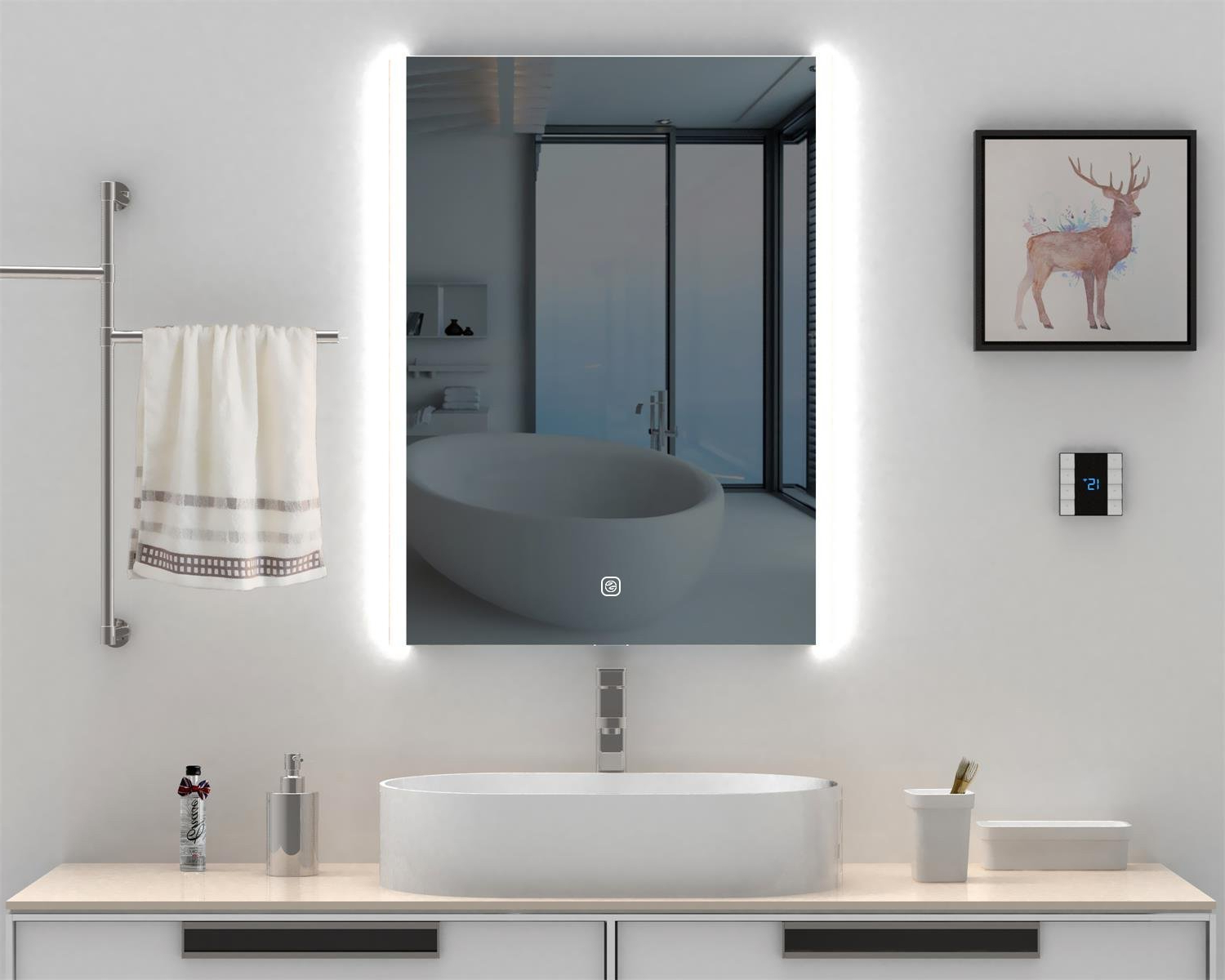 """Lighted Vanity Wall Mirrors Within Popular Heynemo 32""""x24"""" Bathroom Led Lighted Vanity Mirror Wall Mounted Makeup  Mirror, Led Lights Vanity Dimmer Touch Switch Waterproof Illuminated Mirror  For (View 13 of 20)"""