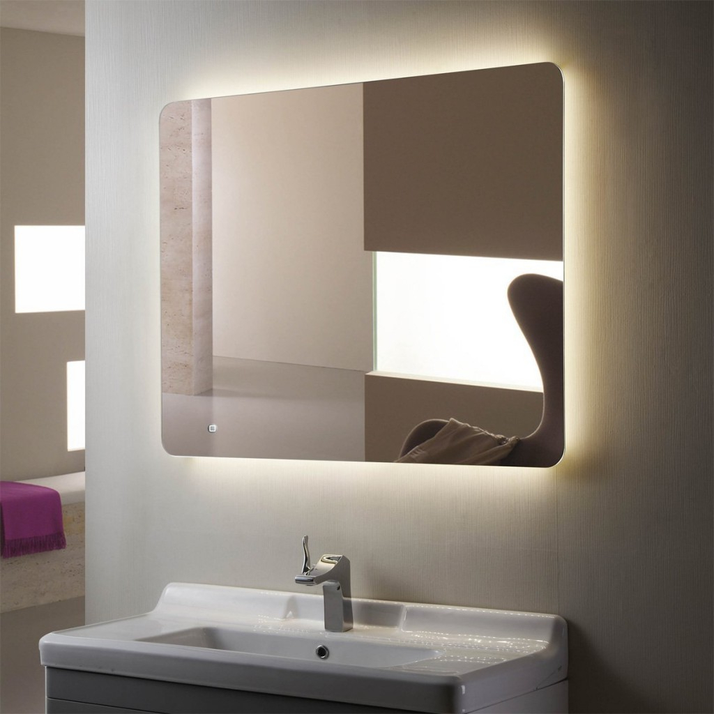 "Lighted Wall Mirror Modern — Mom's Tamales From ""create Unique Throughout Newest Large Lighted Bathroom Wall Mirrors (Gallery 19 of 20)"