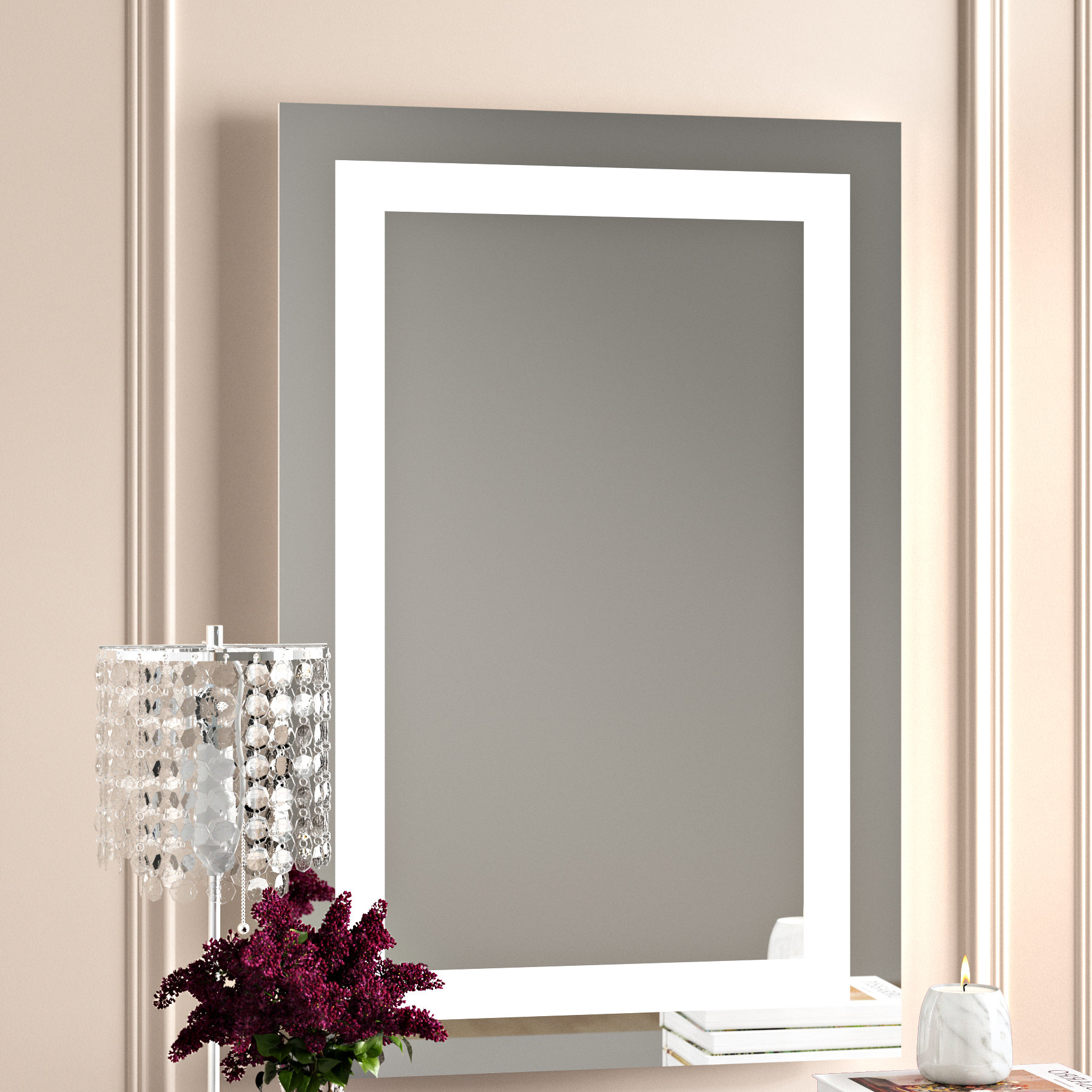 Lighted Wall Mirrors For Bathrooms Regarding Popular Rectangle Led Lighted Wall Mirror (View 2 of 20)