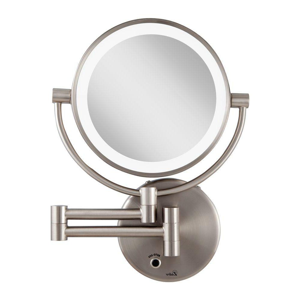 Lighted Wall Mirrors For Bathrooms With Regard To Best And Newest Zadro 12 In. L X 9 In. W Led Lighted Wall Makeup Mirror In Satin Nickel (Gallery 9 of 20)