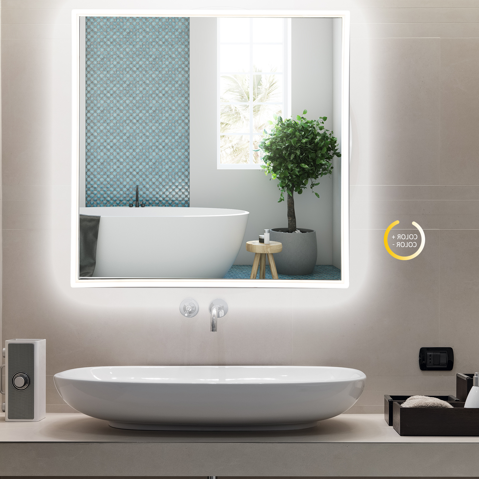 """Lighted Wall Mirrors Regarding Favorite Details About 24"""" Led Lighted Bathroom Wall Mirror 3 Colors Aluminum Glass Makeup Touch Button (View 16 of 20)"""