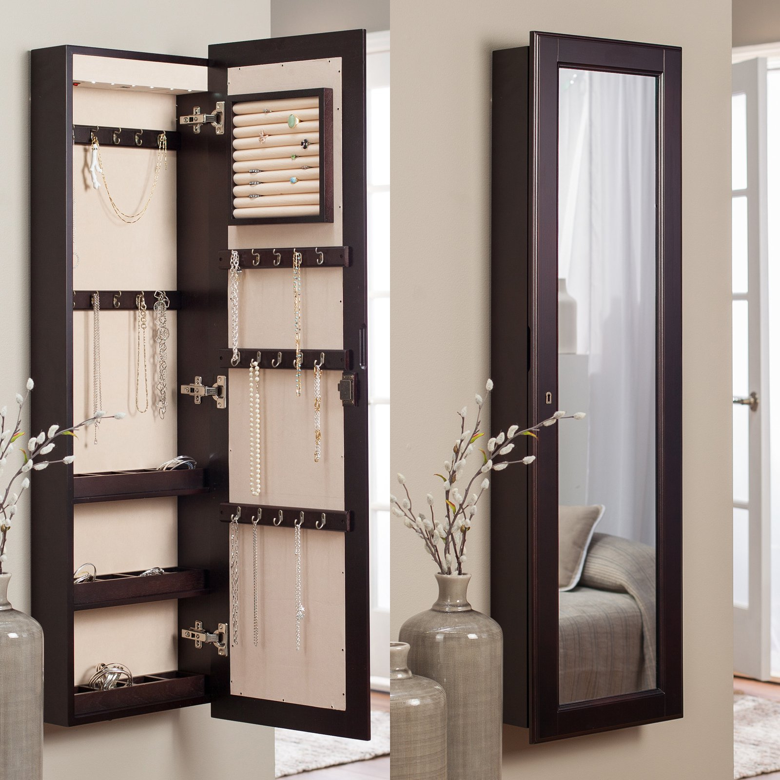 Lighted Wall Mount Locking Jewelry Armoire – Espresso – 14.5W X 50H In (View 14 of 20)