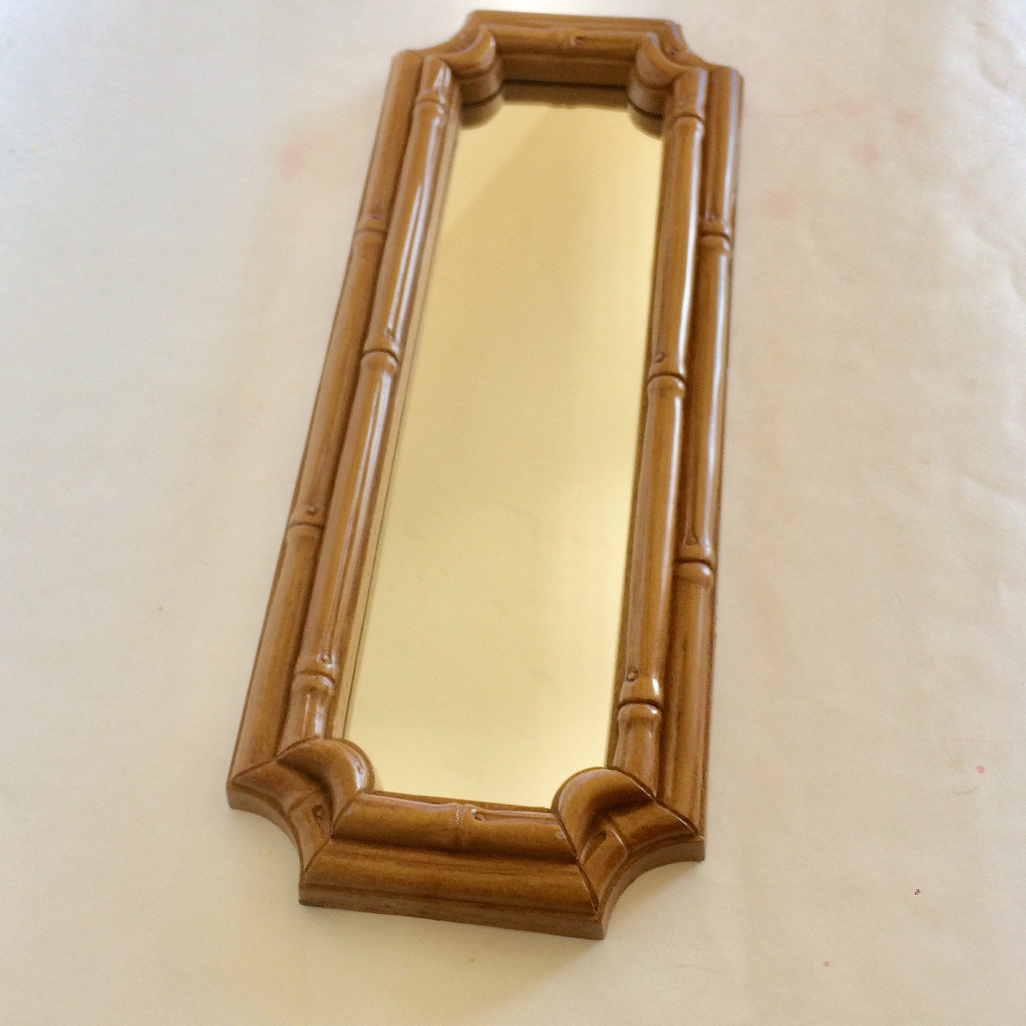 Lightweight Wall Mirrors Pertaining To Most Recently Released Vintage Tiki Mirror Narrow Wall Mirror Classic Hawaiian Wall Decor Faux  Wood Rantan Bamboo Mirror Light Weight Mirror Wall Mirror (View 9 of 20)