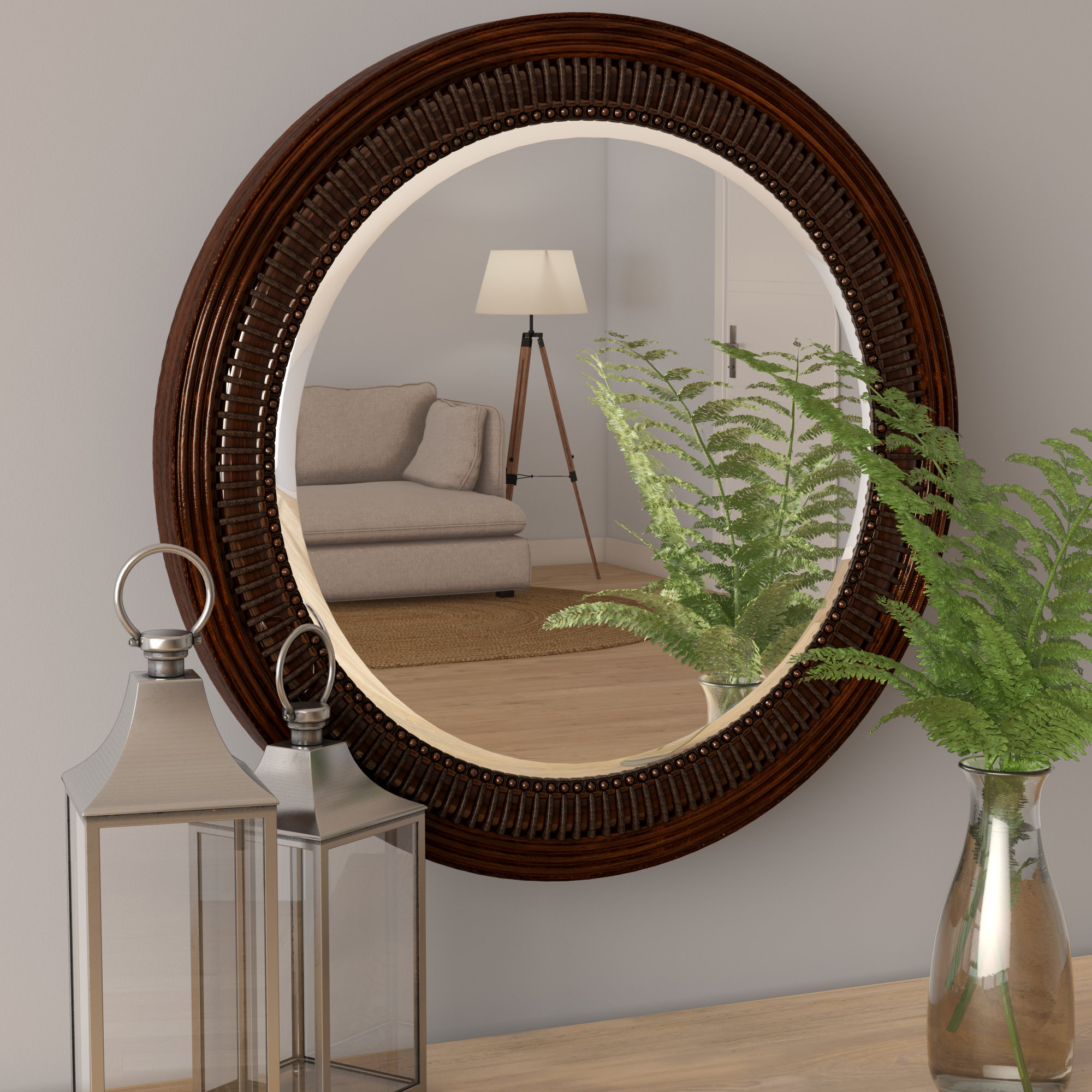 Lila Round Brown Wall Mirror With Regard To Most Recent Charters Towers Accent Mirrors (View 15 of 20)