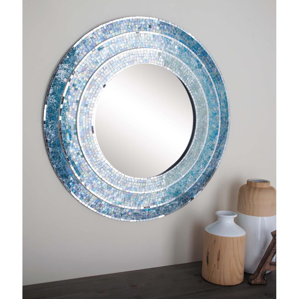 Litton Lane 30 In. Modern Wood Mosaic Framed Wall Mirror 67970 – The Throughout Trendy Mosaic Framed Wall Mirrors (Gallery 4 of 20)