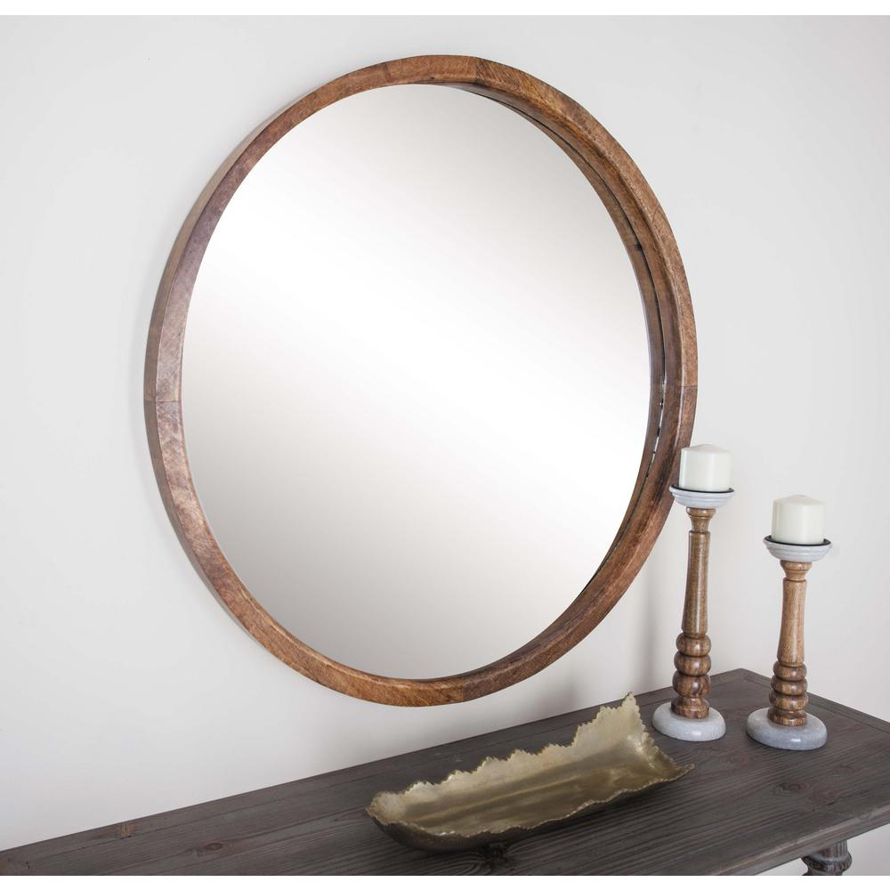 Litton Lane 36 In. Round Brown Framed Wall Mirror In 2019 Intended For Popular Round Wood Wall Mirrors (Gallery 19 of 20)