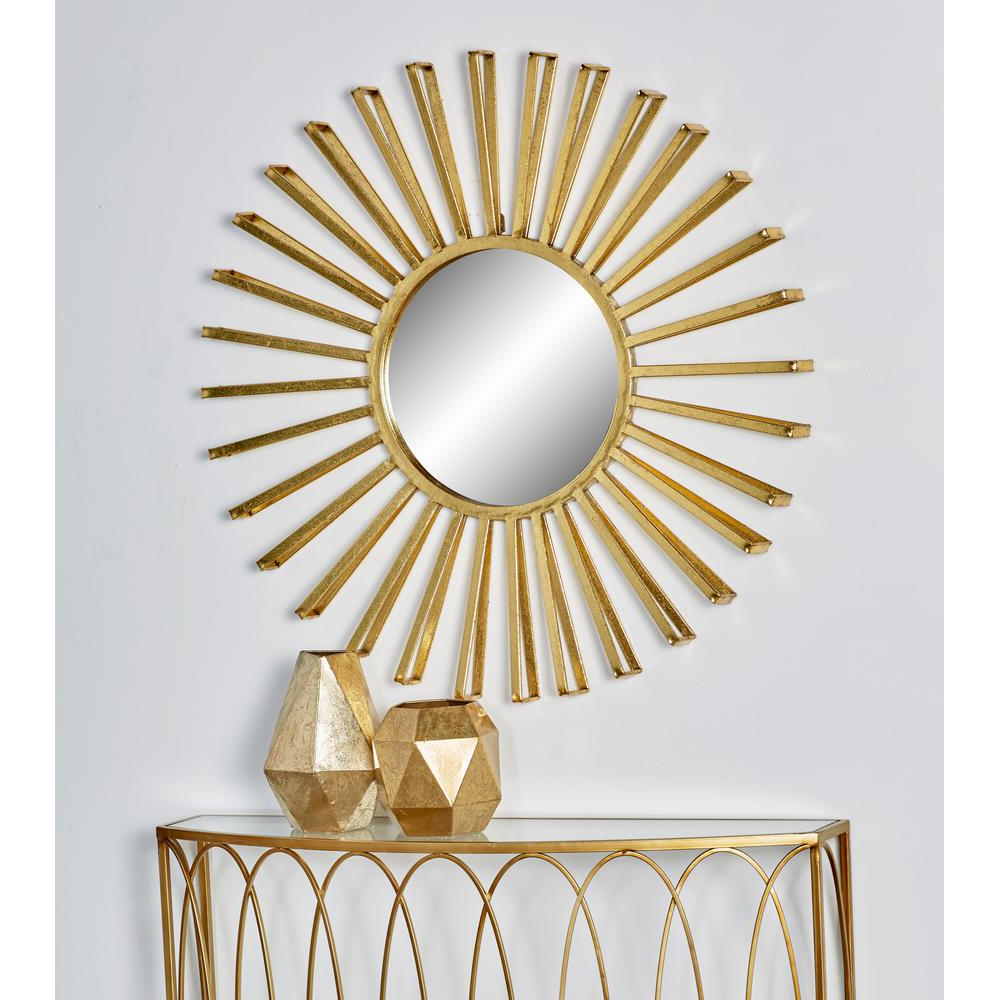 Litton Lane Sun Inspired Round Gold Decorative Wall Mirror With Favorite Sun Wall Mirrors (Gallery 9 of 20)