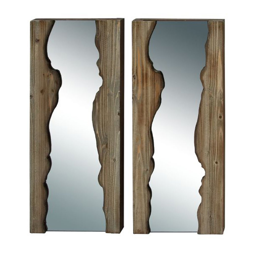 Live Edge Natural Wood Wall Mirror (pack Of 2) Inside Favorite Lightweight Wall Mirrors (View 19 of 20)