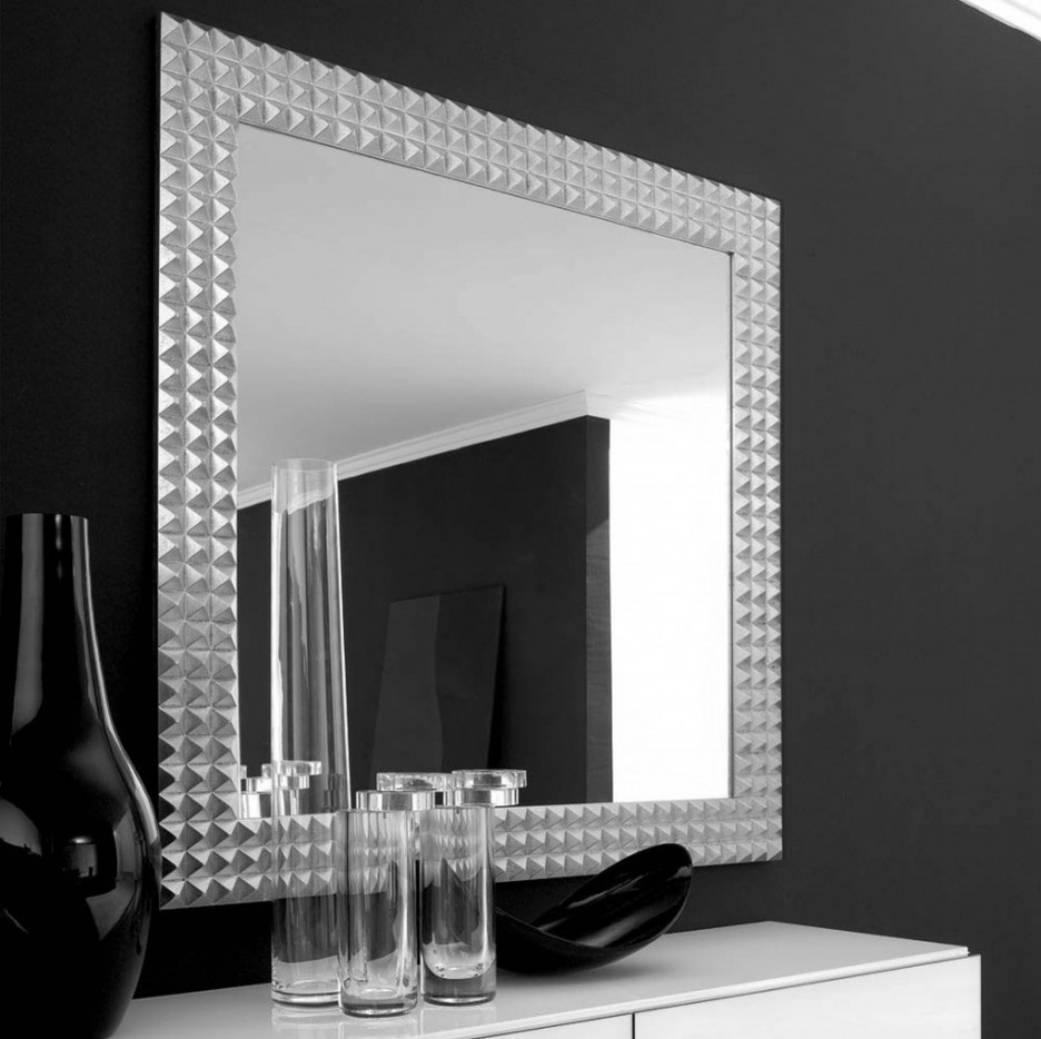 Living Room : Living Room Mirror Wall With Square Silver Wall Mirror Throughout Current Black And Silver Wall Mirrors (Gallery 11 of 20)