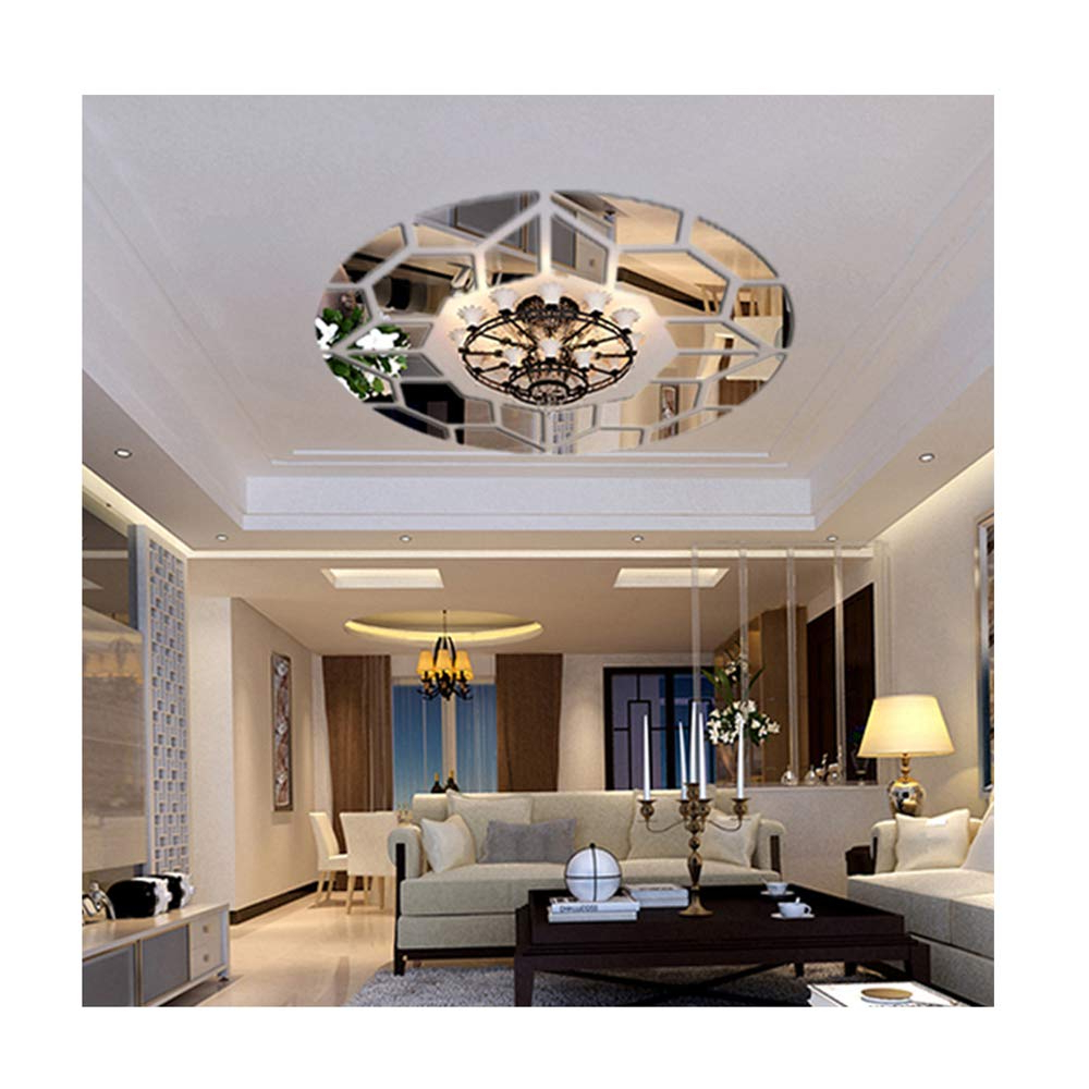 Living Room Wall Mirrors For Most Popular Diy Mirror Effect Ceiling Lights Decorative Wall Stickers Living Room  Restaurant Bedroom Corridor Decorative Wall Decor Art Mural Decal Removable (Gallery 8 of 20)