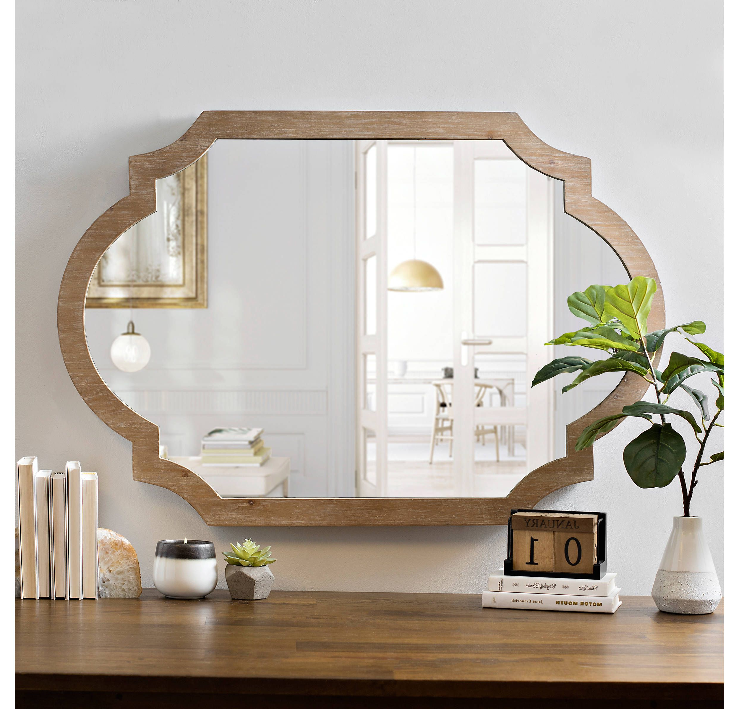 Loftis Modern & Contemporary Accent Wall Mirrors Pertaining To Widely Used Product Details Natural Wood Scalloped Mirror In  (View 13 of 20)