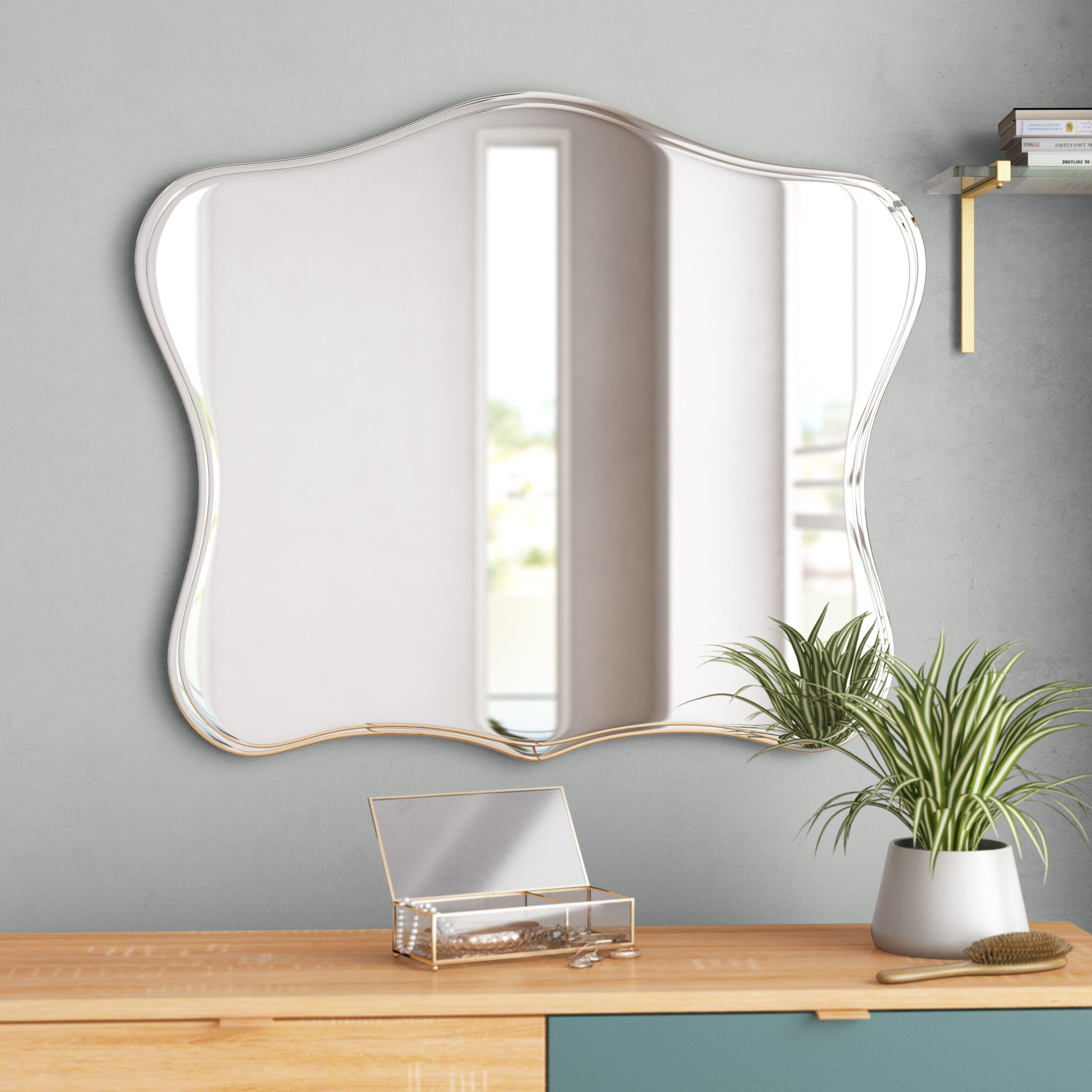 Logan Frameless Wall Mirrors Regarding 2019 Titsworth Frameless Fancy Wall Mirror (View 20 of 20)