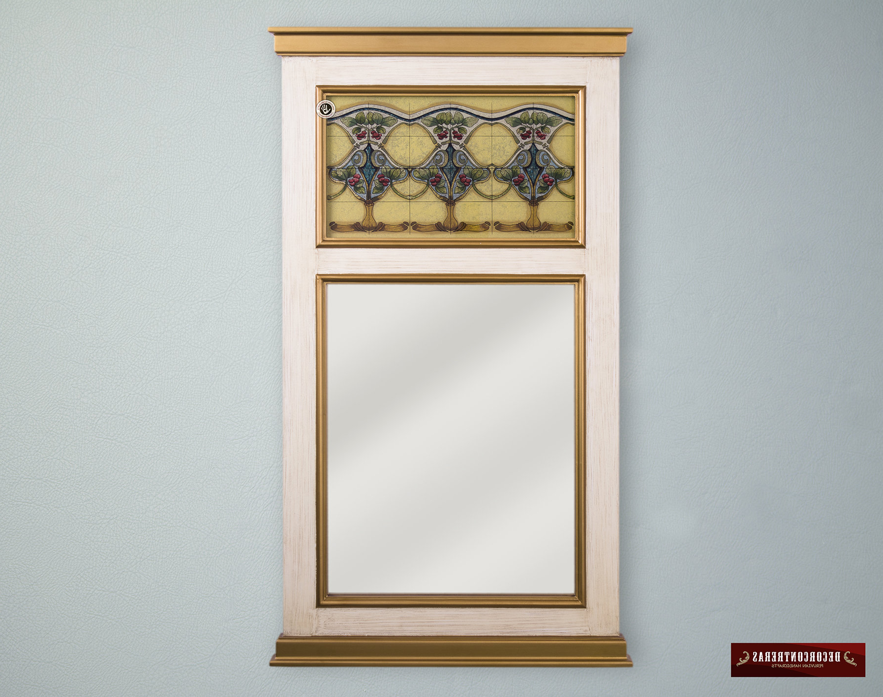 "Long Narrow Wall Mirror ""art Nouveau"", Beige Narrow Wood Framed Wall Mounted Mirror, Decorative Accent Mirror, Peruvian Hand Painted Glass Pertaining To Recent Long Narrow Wall Mirrors (View 15 of 20)"