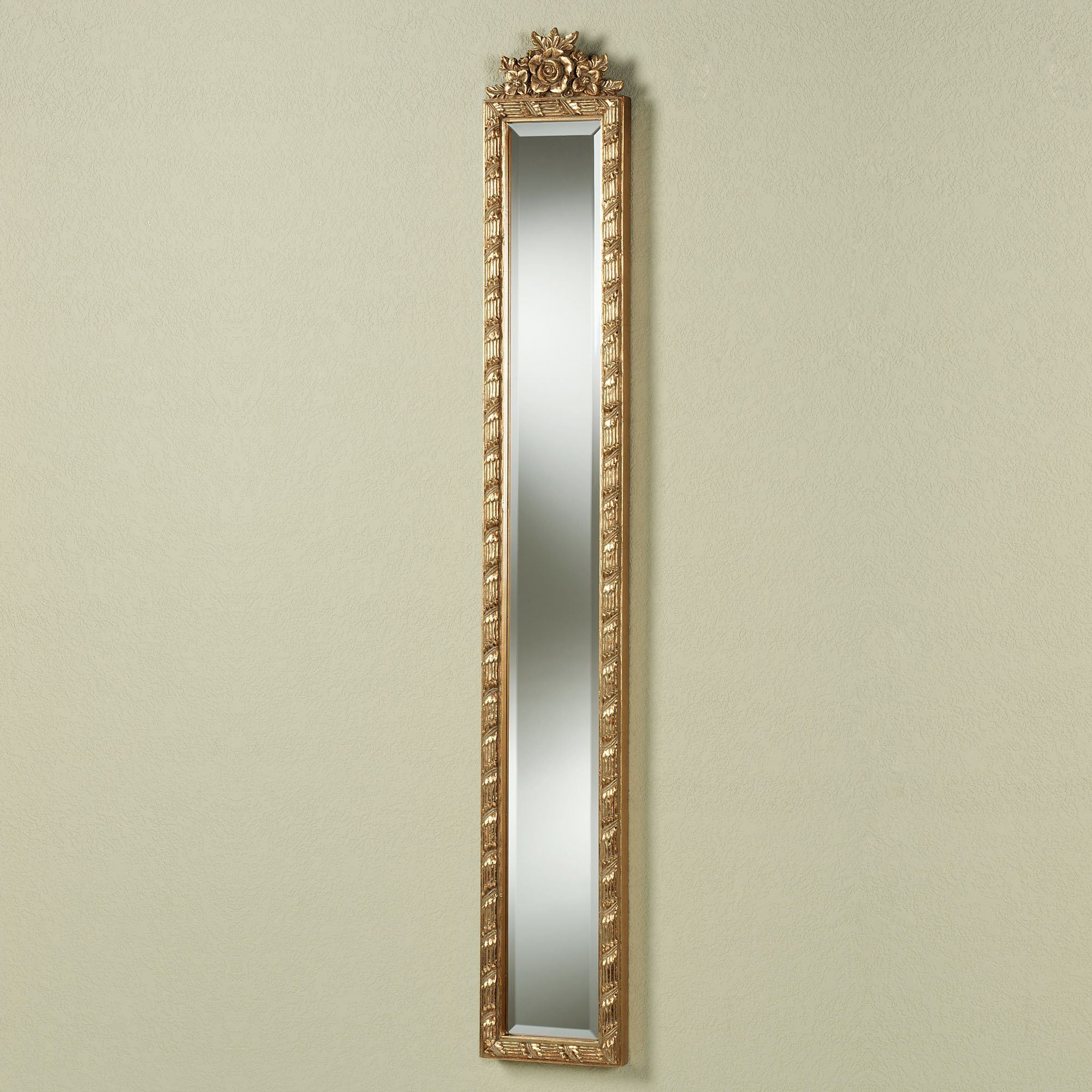 Long Narrow Wall Mirrors Intended For Best And Newest Giuliana Antique Gold Floral Wall Mirror Panel (View 2 of 20)