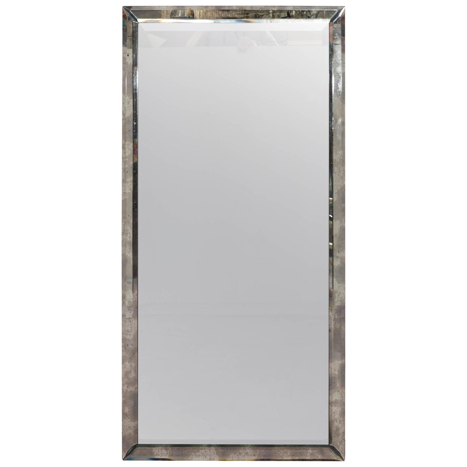 Long Rectangular Wall Mirror In Beveled Distressed Glass Frame Intended For Fashionable Long Wall Mirrors (View 9 of 20)