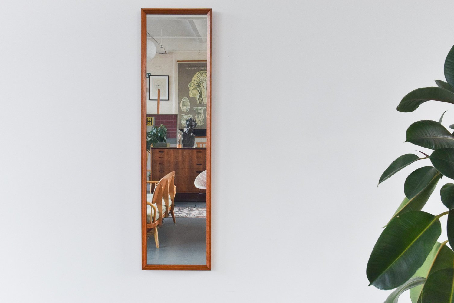 Long Thin Wall Mirrors Pertaining To Current Vintage Long Thin Teak Framed Wall Mirrorrowley (View 11 of 20)
