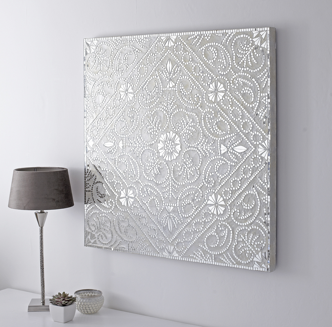 Long White Wall Mirrors Inside Well Liked Large Decorative Mosaic Wall Art (Gallery 13 of 20)