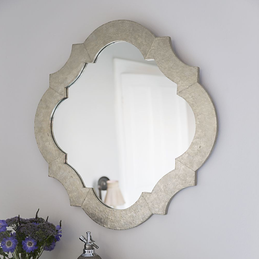Lotus White Metal Wall Mirror Inside Current Metal Wall Mirrors (Gallery 9 of 20)