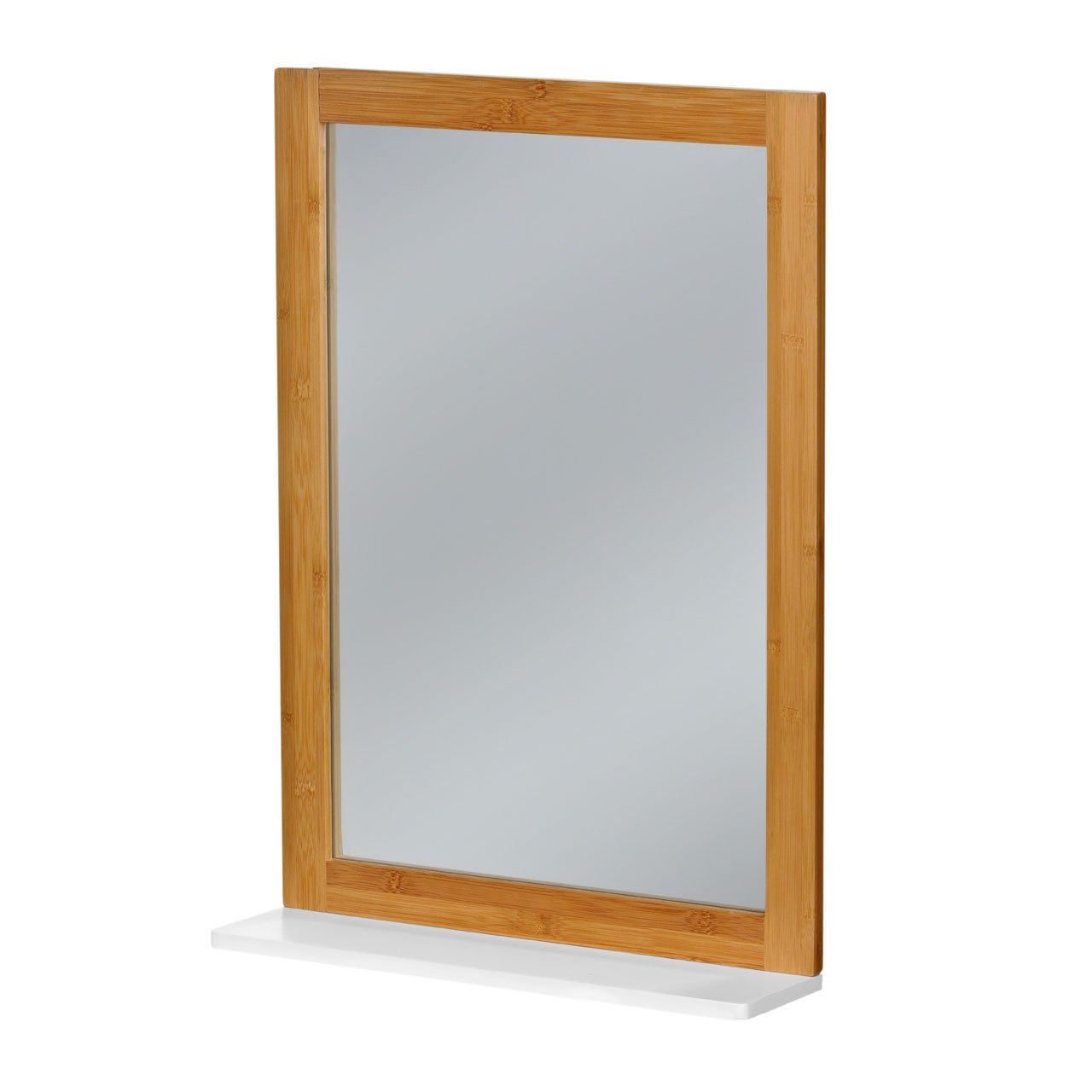 Loupe Wall Mirror Bamboo Frame Mdf White Finish Shelf Contemporary For Best And Newest Bamboo Framed Wall Mirrors (View 12 of 20)