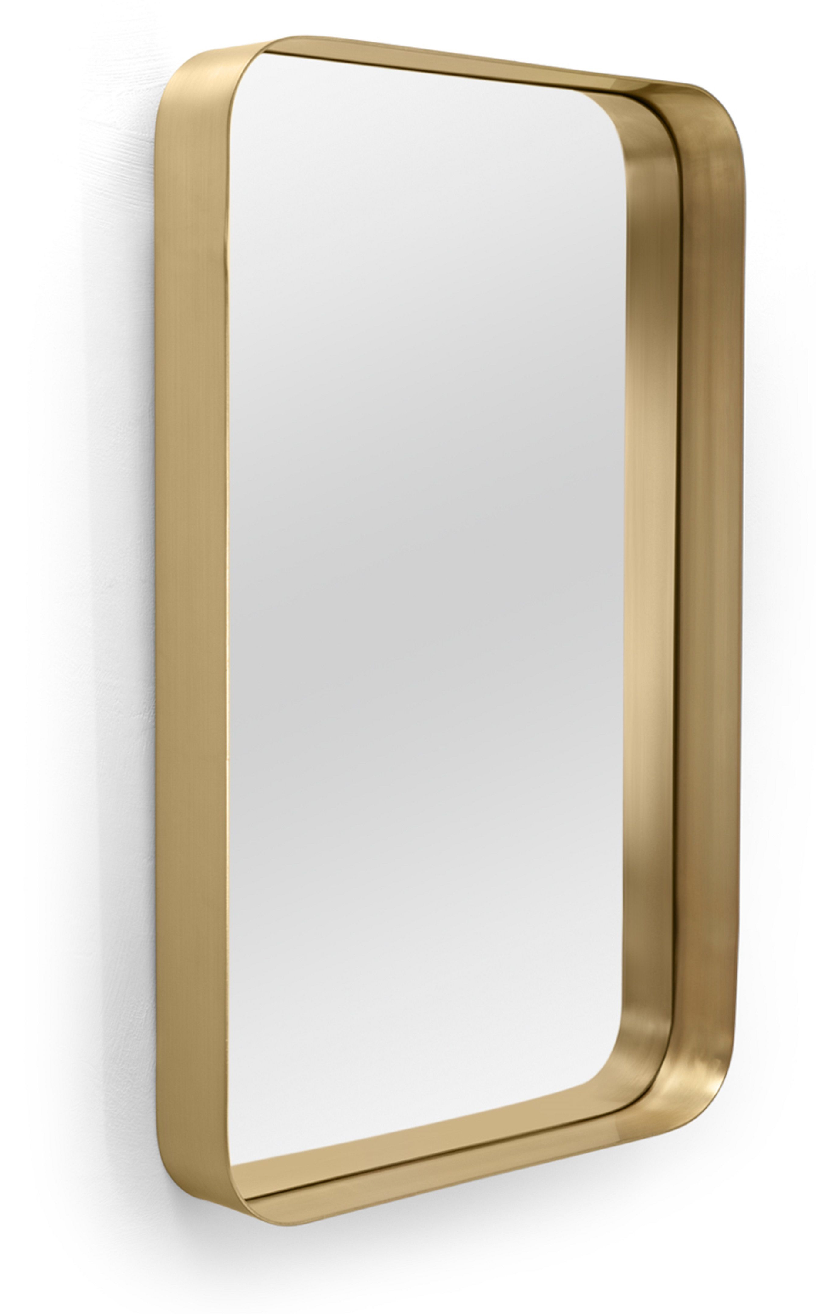 Lugo Rectangle Accent Mirrors Inside Widely Used Alana Rectangular Mirror 50 X 80 Cm, Brushed Brass (View 7 of 20)