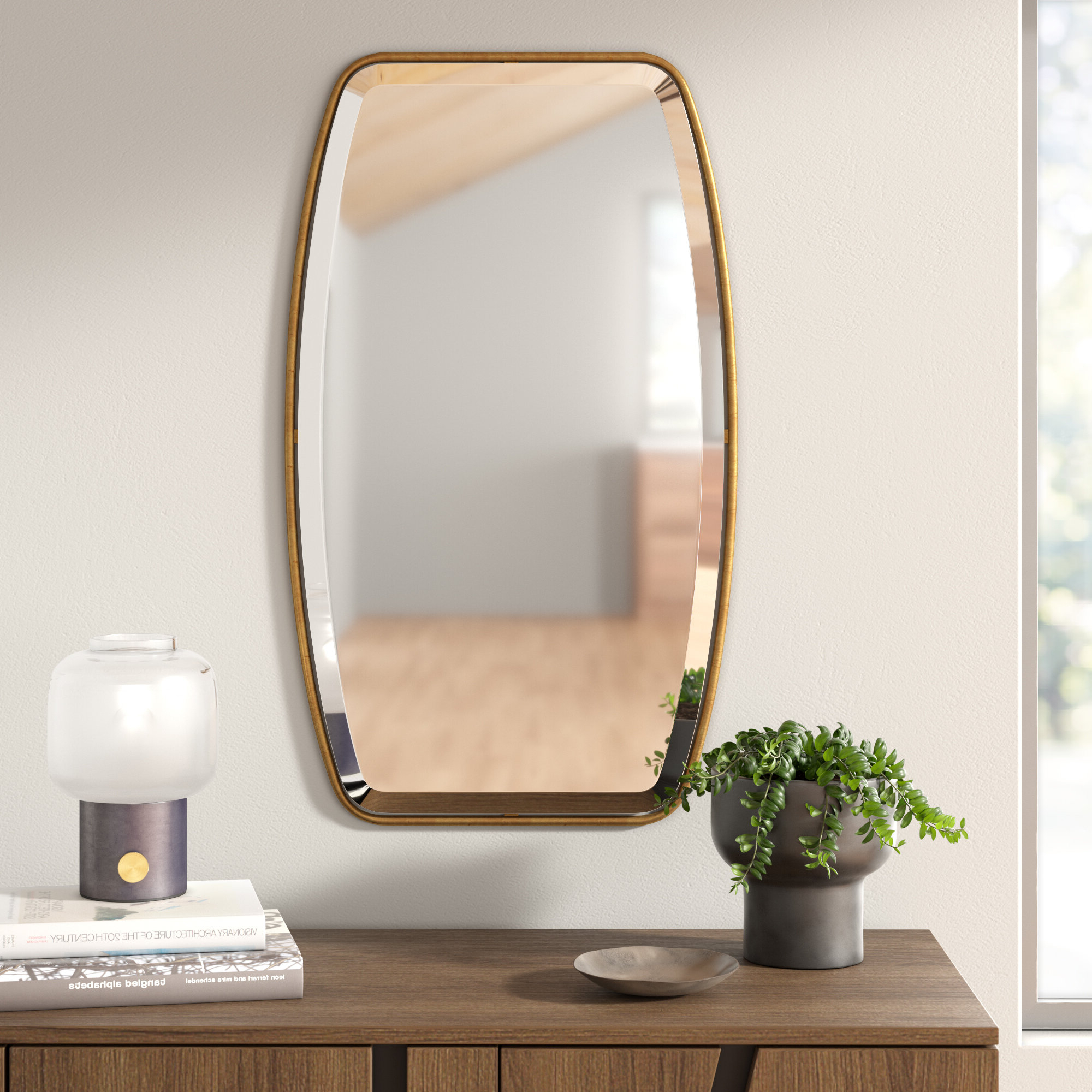 Lugo Rectangle Gold Metal Wall Mirror Throughout 2020 Lugo Rectangle Accent Mirrors (View 12 of 20)