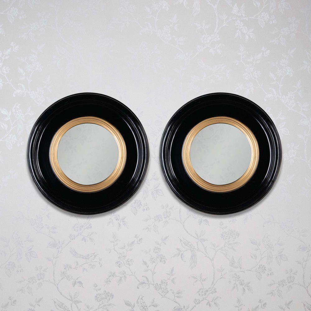 Luna Set Of 2 Accent Mirror Round Black Gold 42Cm Inside Most Up To Date Luna Accent Mirrors (Gallery 5 of 20)
