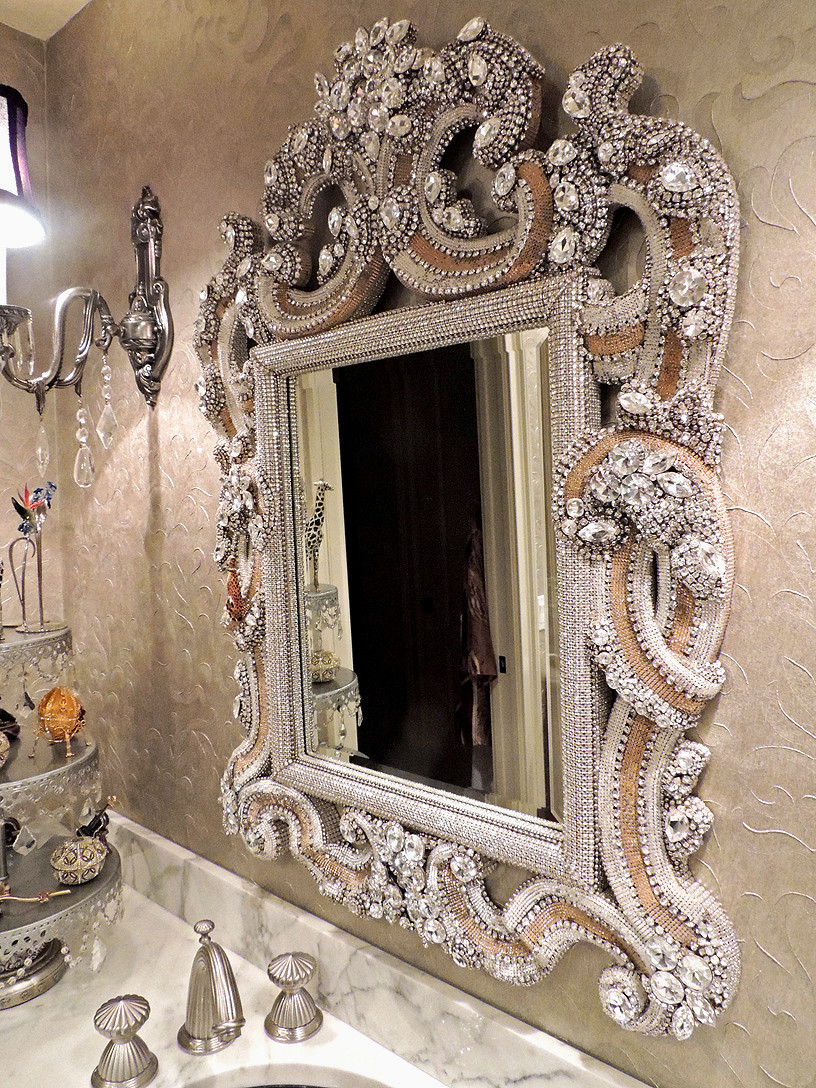 Luxurious And Splendid Rhinestone Wall Mirror Etsy Large One Of In Fashionable Rhinestone Wall Mirrors (Gallery 12 of 20)