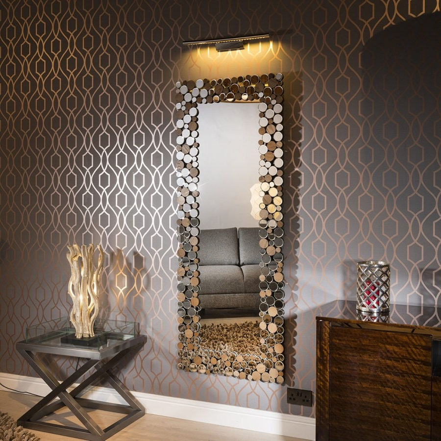 Luxury Rectangular Designer Wall Mounted Bubble Feature Mirror 180X71 With Regard To Latest Luxury Wall Mirrors (Gallery 7 of 20)