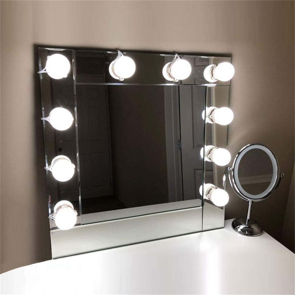 Lvyinyin Vanity Lights Kit Hollywood Style Makeup Led Light Bulbs With Stickers Attached To Bathroom Wall Or Dressing Mirrors, Dimmable Switch, Power Regarding Recent Wall Mirrors With Light Bulbs (View 4 of 20)