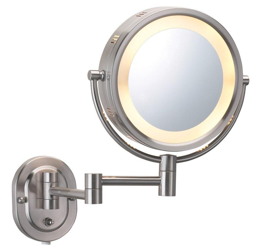 Magnifying Wall Mirrors Inside Popular Jerdon Hl65n 8 Inch Two Sided Swivel Halo Lighted Wall Mount Mirror With 5x Magnification, 14 Inch Extension, Matte Nickel Finish (View 15 of 20)