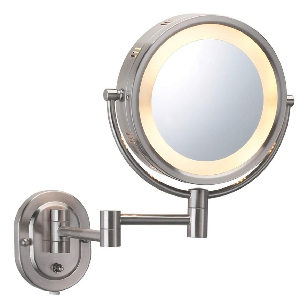 Magnifying Wall Mirrors Regarding Fashionable Jerdon 5x Halo Lighted 13 In. L X10 In (View 8 of 20)