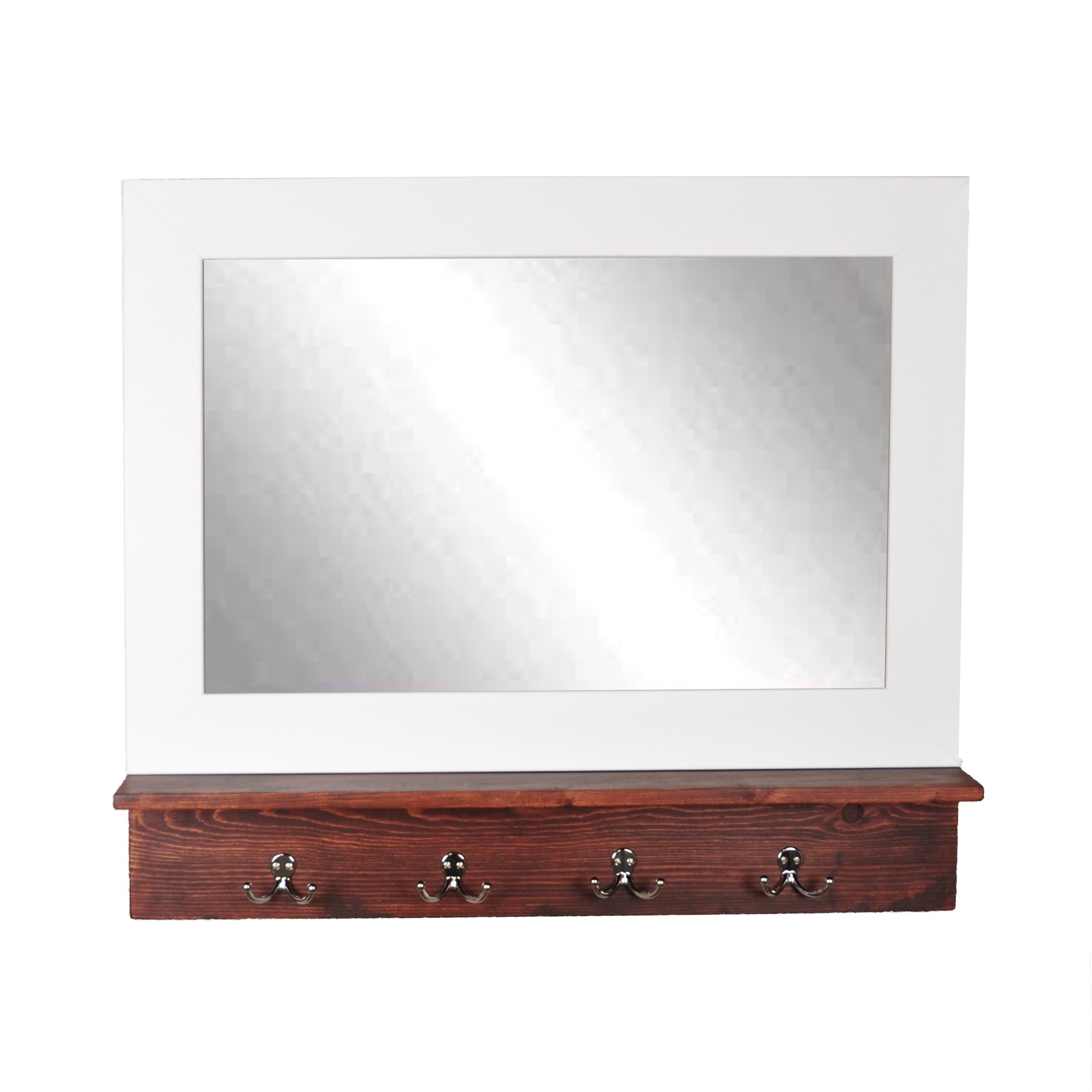 Matte White Small Mirror With Dark Brown Shelf And 4 Silver Hooks – White Mirror/dark Brown Shelf/ Silver Hooks – 32 X (View 20 of 20)