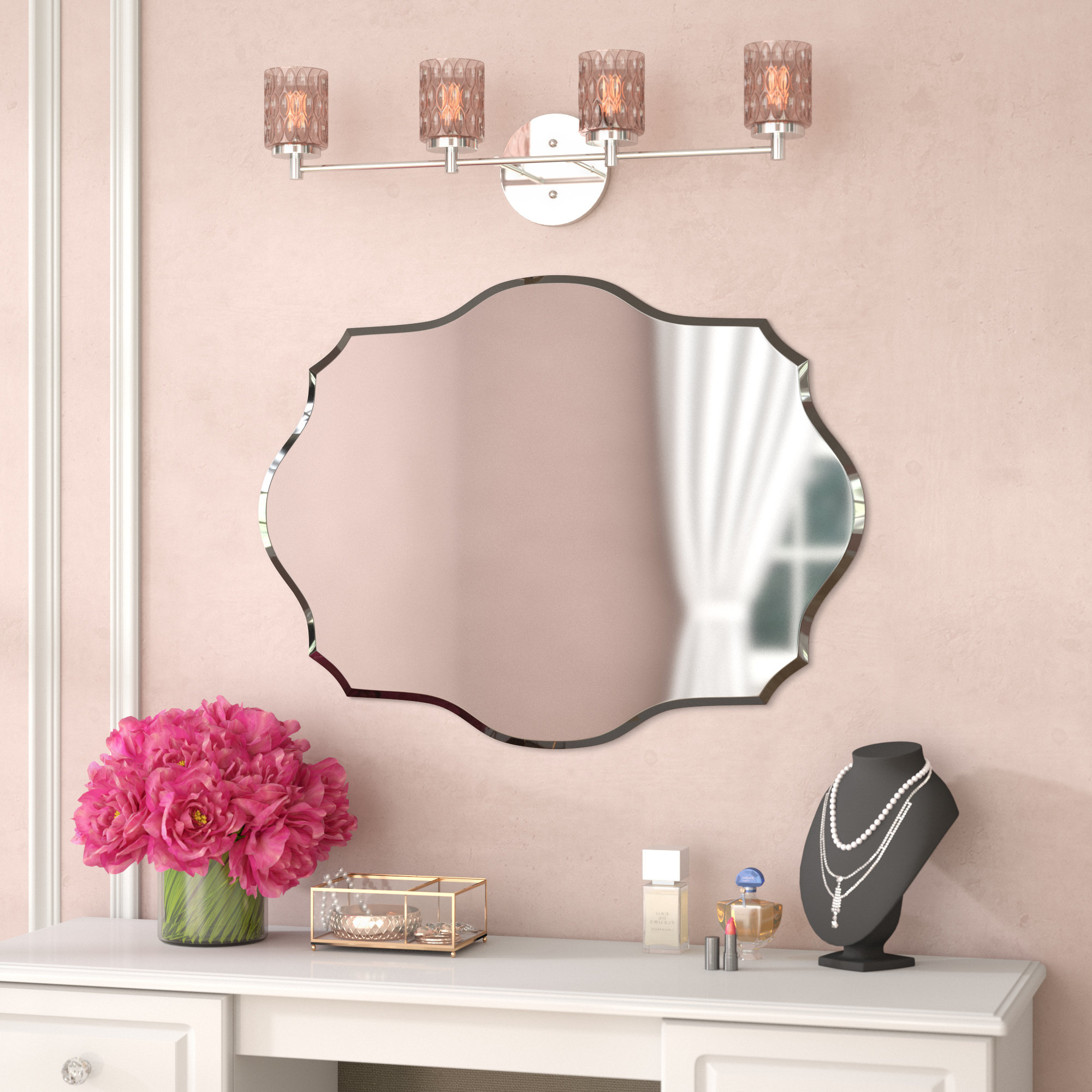 Mccroy Glam Frameless Wall Mirror Throughout Most Recently Released Pink Wall Mirrors (View 7 of 20)