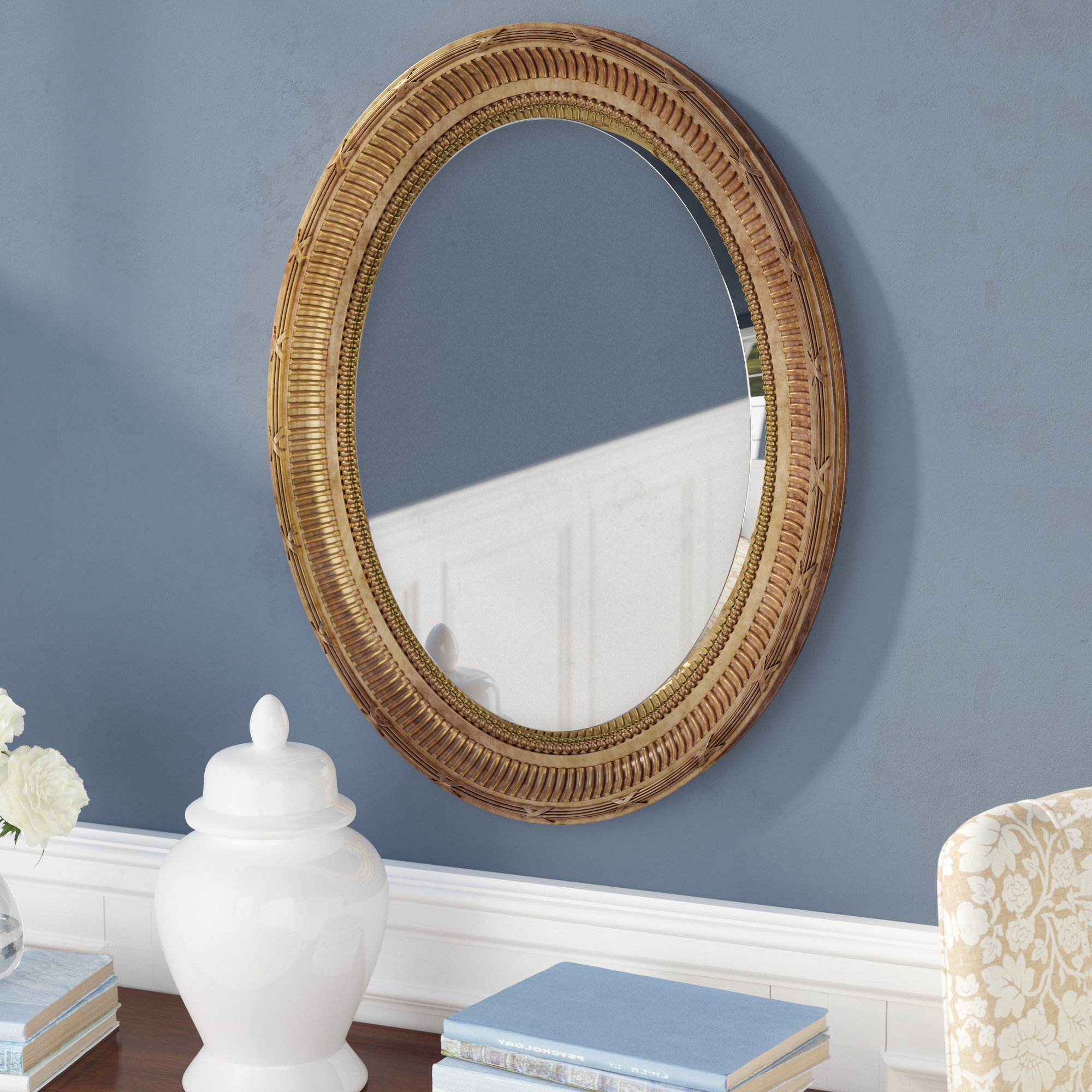 Mcnary Accent Mirrors Intended For Widely Used Country Gold Oval Accent Mirror (View 8 of 20)