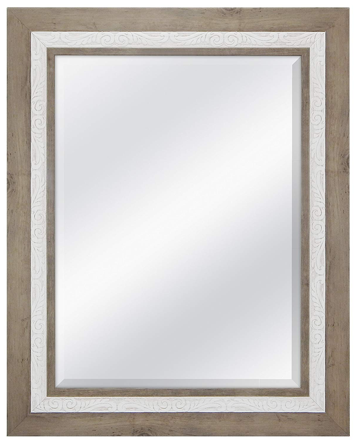 Mcs 18x24 Inch Beveled Wall Mirror Rustic Wood And Embossed Whitewash Finish 24.5 X (View 10 of 20)