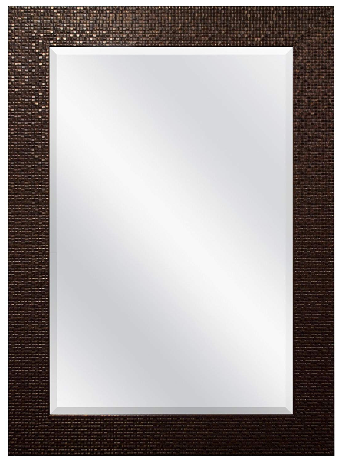 Mcs 24X36 Inch Embossed Tile Wall Mirror, 32X44 Inch Overall Size, Bronze Pertaining To Newest Grid Accent Mirrors (View 11 of 20)