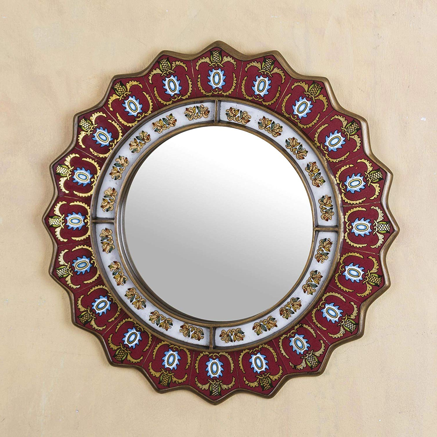 Medallion Accent Mirrors Throughout Favorite Novica Mi0006 Red Reverse Painted Glass Wood Framed Decorative Star Wall Mirror From Peru 'ruby Medallion' (large) (View 9 of 20)