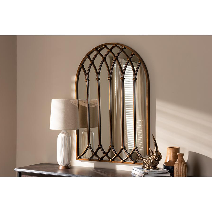 Metal Arch Window Wall Mirrors In Latest Freja Vintage Farmhouse Antique Bronze Finished Arched Window Accent Wall  Mirrorbaxton Studio (View 5 of 20)