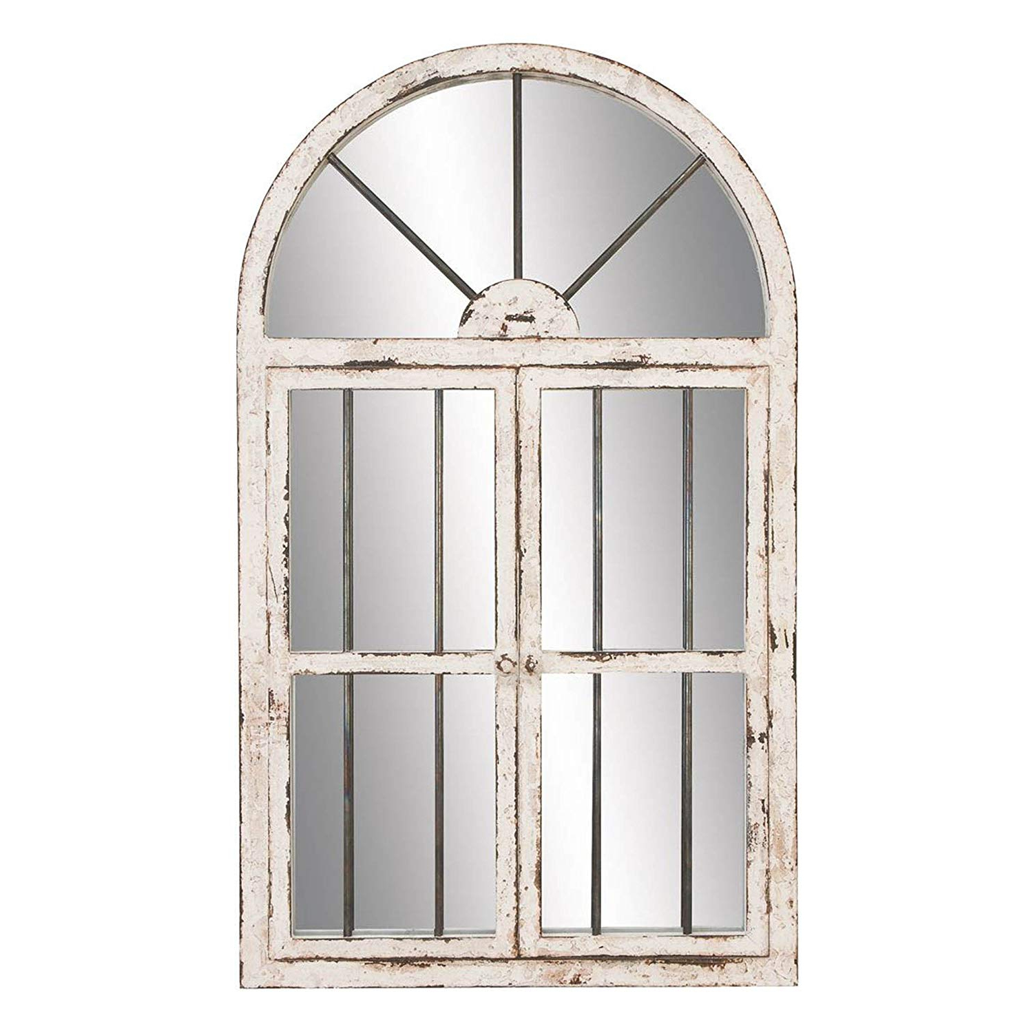 """Metal Arch Window Wall Mirrors Inside Best And Newest Amazon: Deco 79 Wood Window Mirror, 4225"""": Home (Gallery 19 of 20)"""