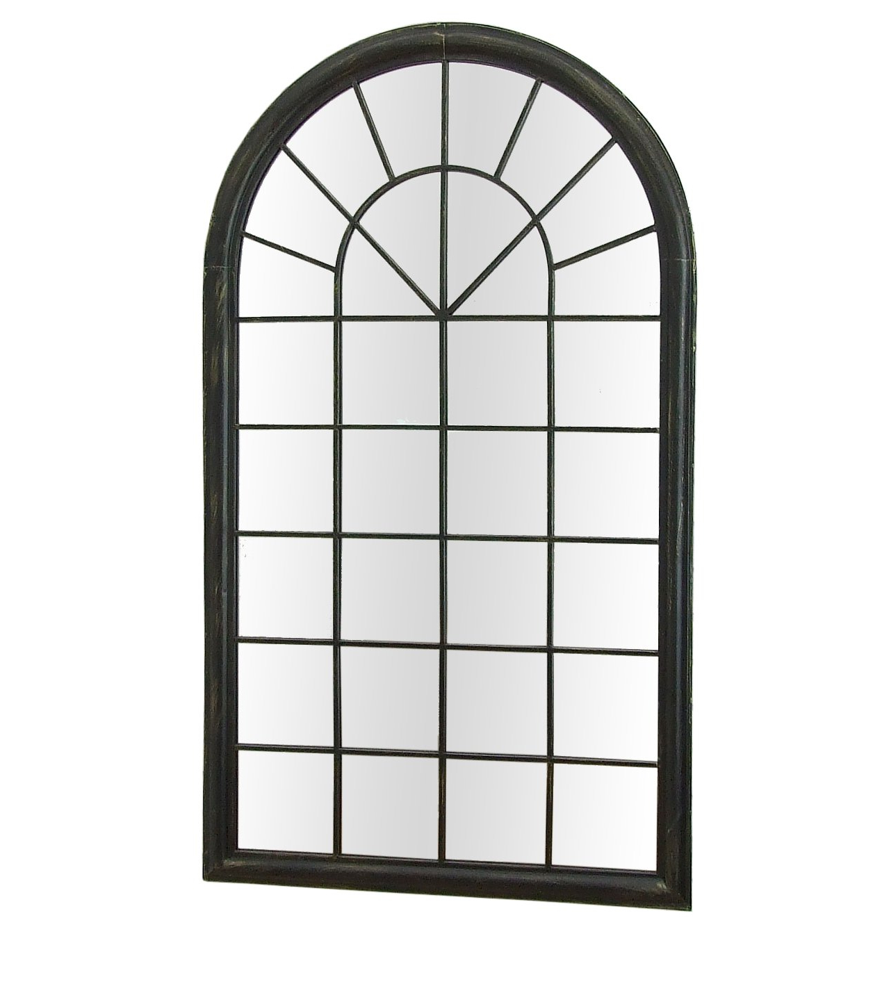 Metal Arch Window Wall Mirrors Pertaining To Well Liked Barcelona Trading Sasha Large Antique Black Metal Frame Arch (Gallery 16 of 20)