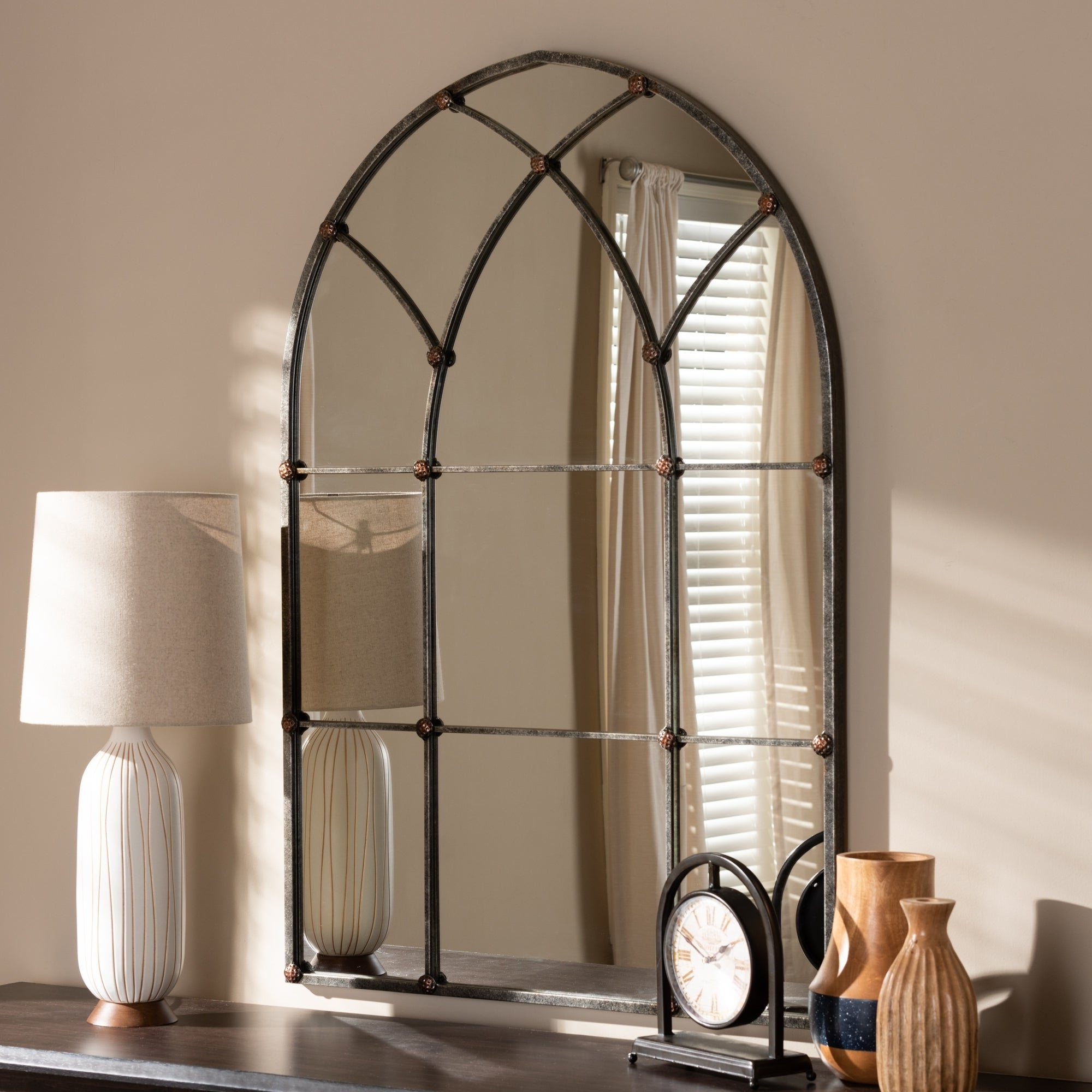 Metal Arch Window Wall Mirrors With Recent Vintage Antique Silver Arched Window Wall Mirrorbaxton Studio – Antique  Silver (Gallery 15 of 20)