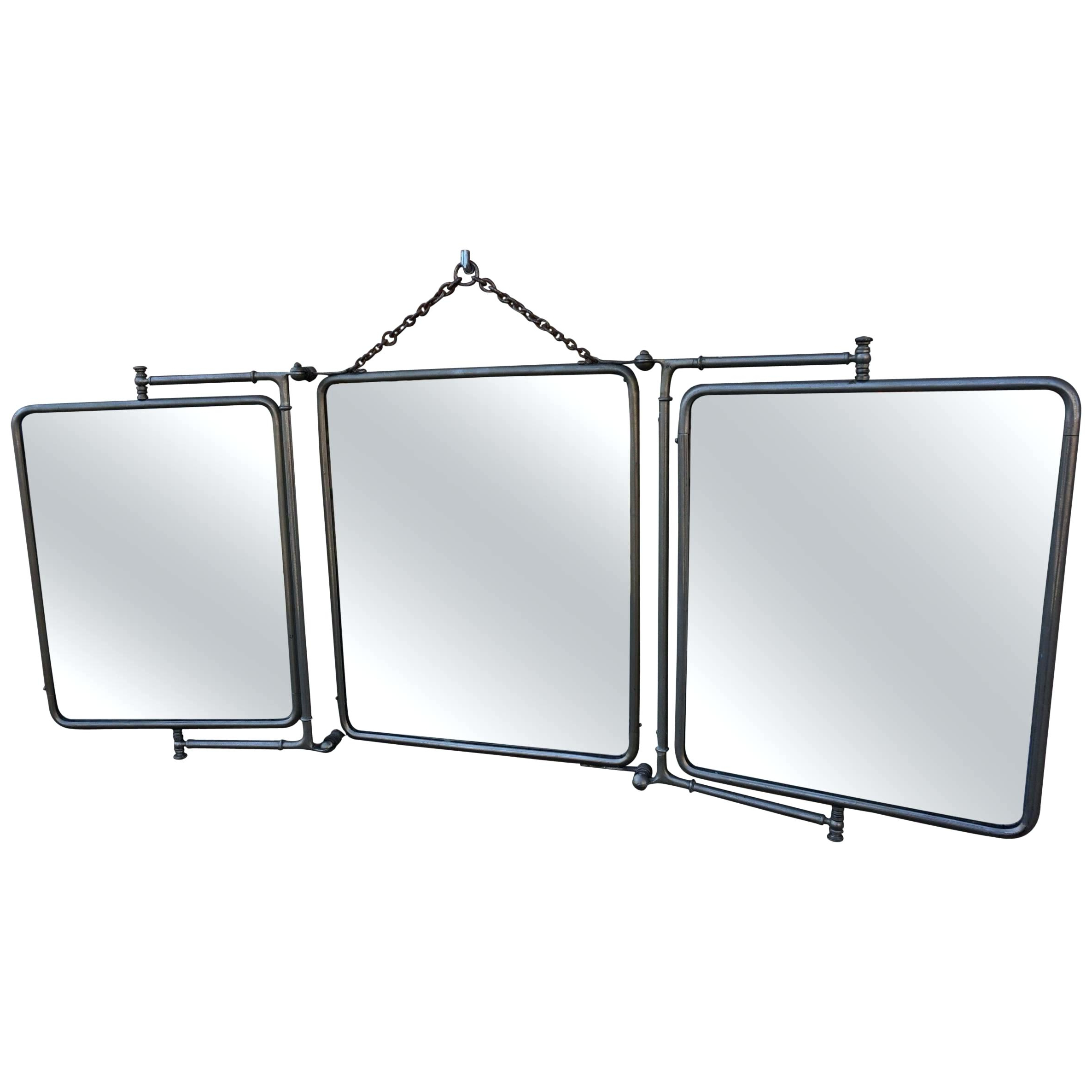 Metal Frame Wall Mirror Rare Industrial Threefold Folding Want More With Regard To 2019 Folding Wall Mirrors (View 10 of 20)