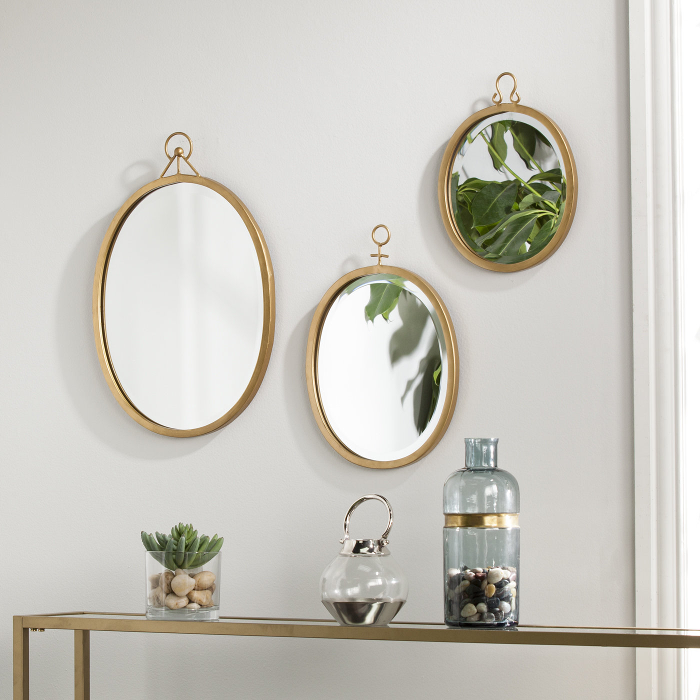 Metal Frame Wall Mirrors With Regard To Favorite 3 Piece Oval Metal Frame Mirror Set (View 18 of 20)