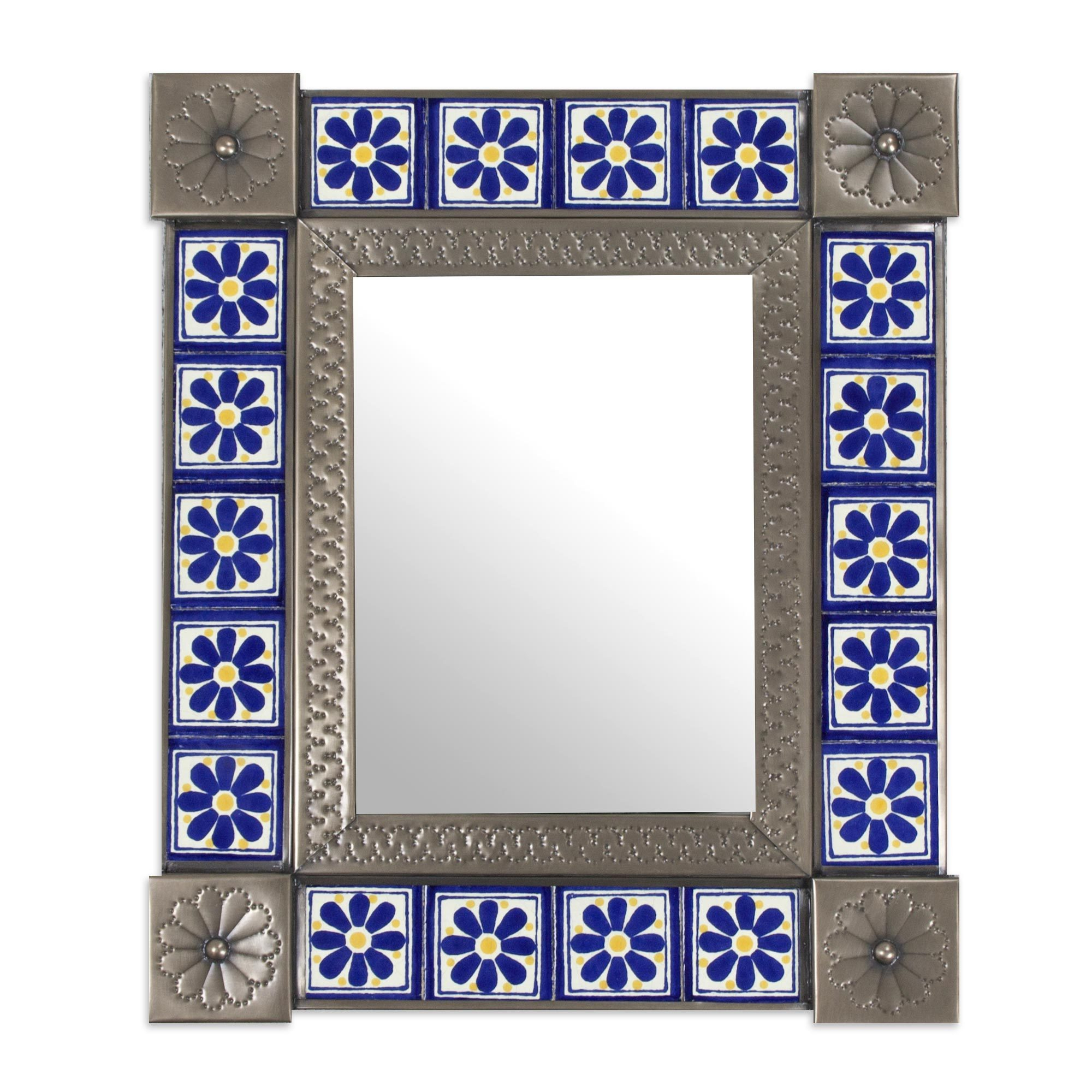 Mexican Wall Mirrors In Most Recent Tin And Ceramic Wall Mirror, 'mexican Wildflowers' (Mexico) – Grey (View 8 of 20)