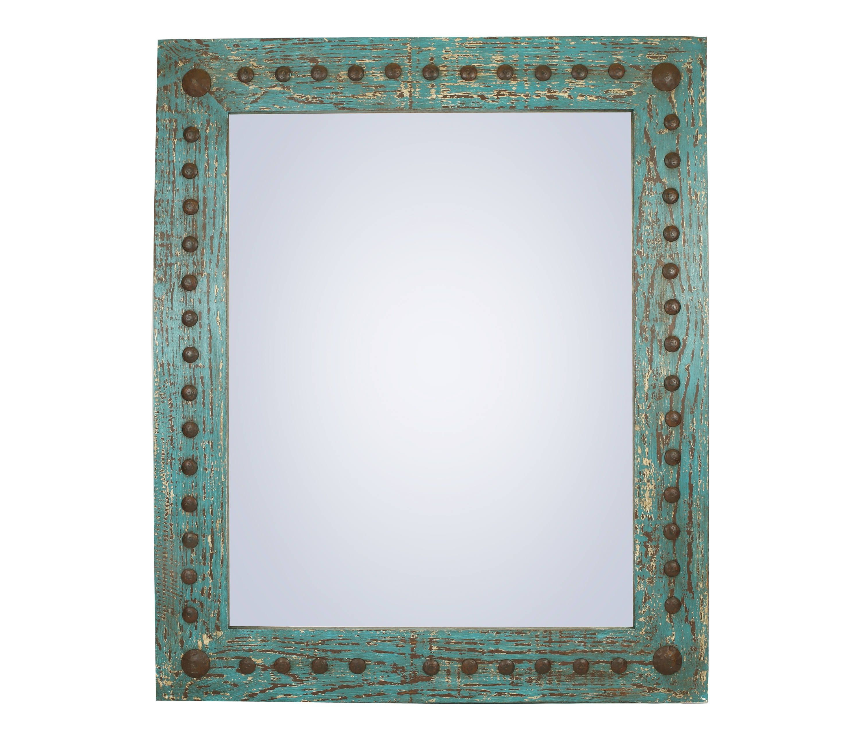 Mexican Wall Mirrors Inside Popular Puebla Rustic Mirror Wood Mexican 34x34 Rustic Distressed (View 6 of 20)