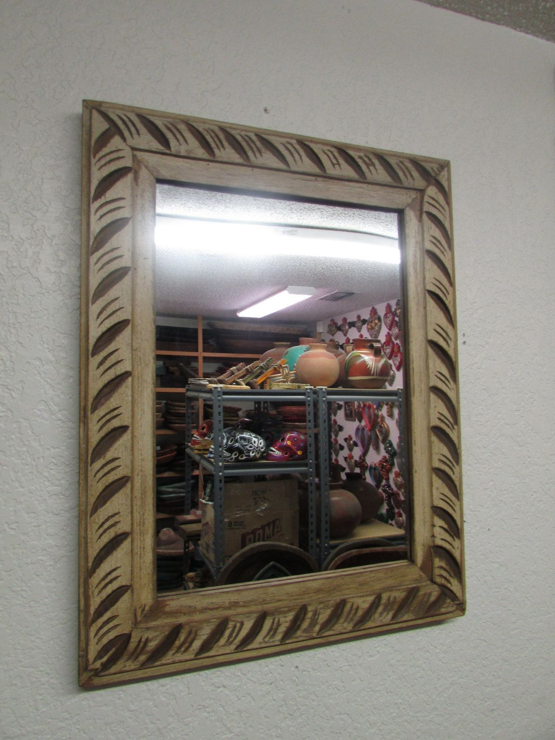Mexican Wall Mirrors Regarding 2019 Antique Old Door Carved Rustic Mirror Mexican 24X30.5 In (Gallery 15 of 20)