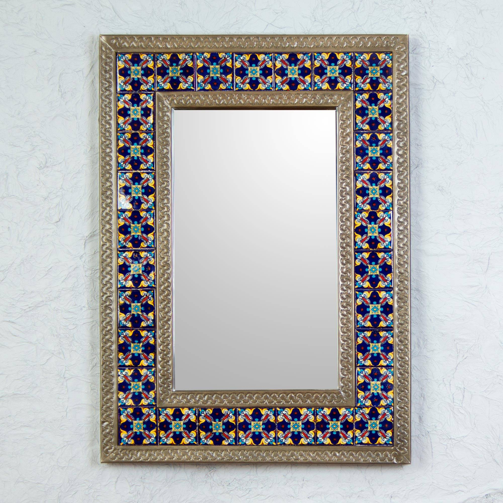 Mexican Wall Mirrors Within Widely Used Tin Wall Mirror With Mexican Blue Floral Ceramic Tiles, 'blue Sapphire' (Gallery 12 of 20)