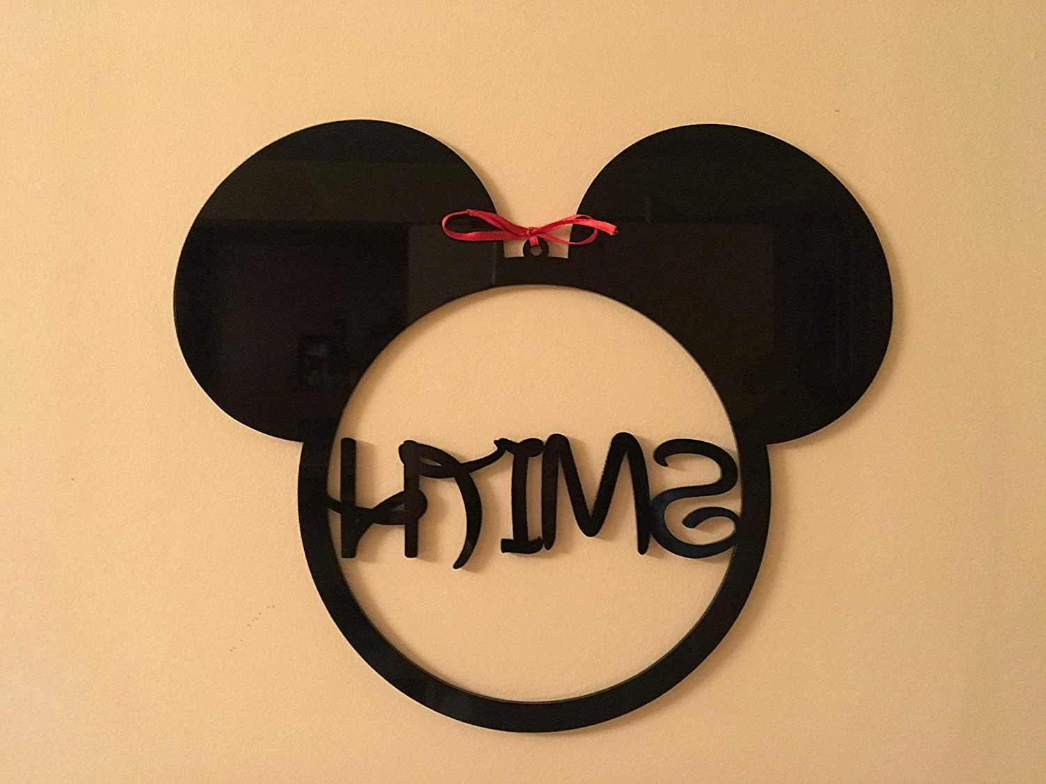 Mickey Mouse Monogram Personalized Any Name Sign Acrylic Hanging Wall  Decorations Minnie Mouse Ears Ornament Disney Shape Nursery Wall Art Gift  For In Most Recently Released Mickey Mouse Wall Mirrors (View 6 of 20)