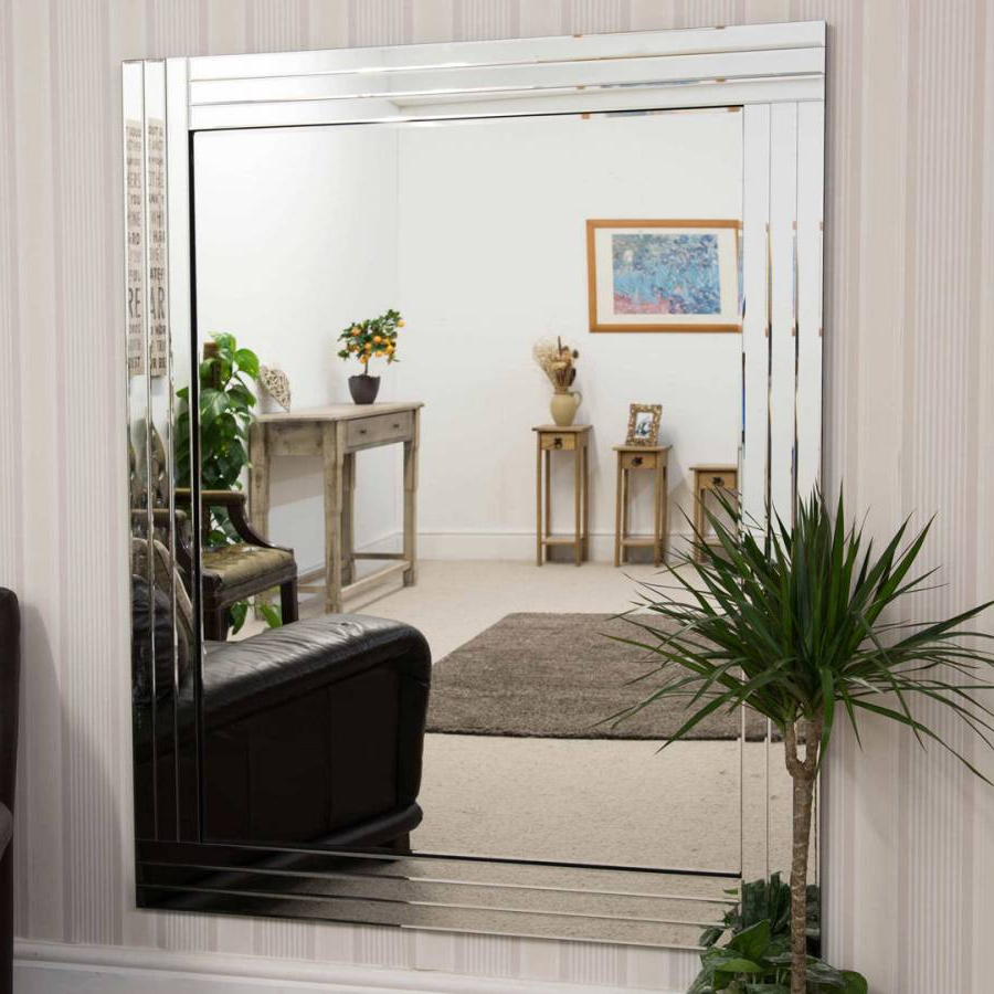 Milton Manor Oakley All Glass Triple Edge Bevelled Large Wall Mirror 144X116Cm Within Well Known Large Glass Bevelled Wall Mirrors (View 19 of 20)